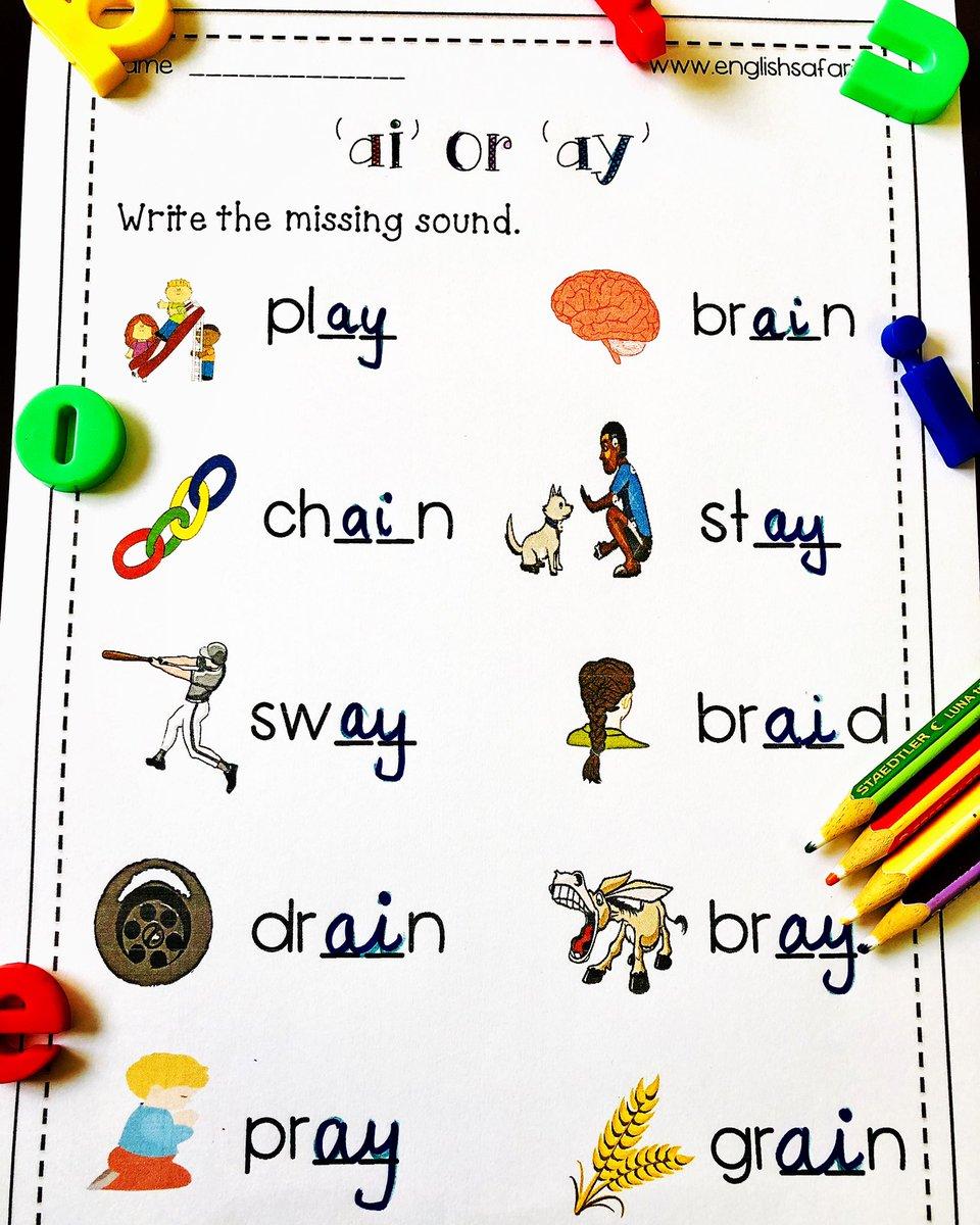 medium resolution of EnglishSafari on Twitter: \**FREE** ai ay words worksheet for kindergarten  and first grade. Visit my website