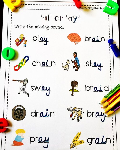 small resolution of EnglishSafari on Twitter: \**FREE** ai ay words worksheet for kindergarten  and first grade. Visit my website