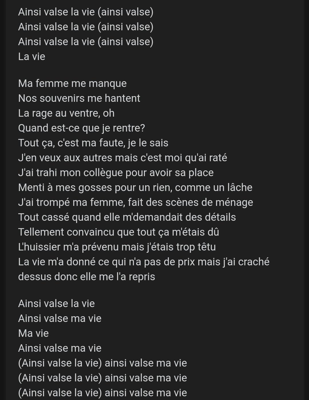 AINSI VALSE LA VIE - Blak M - LETRAS.COM