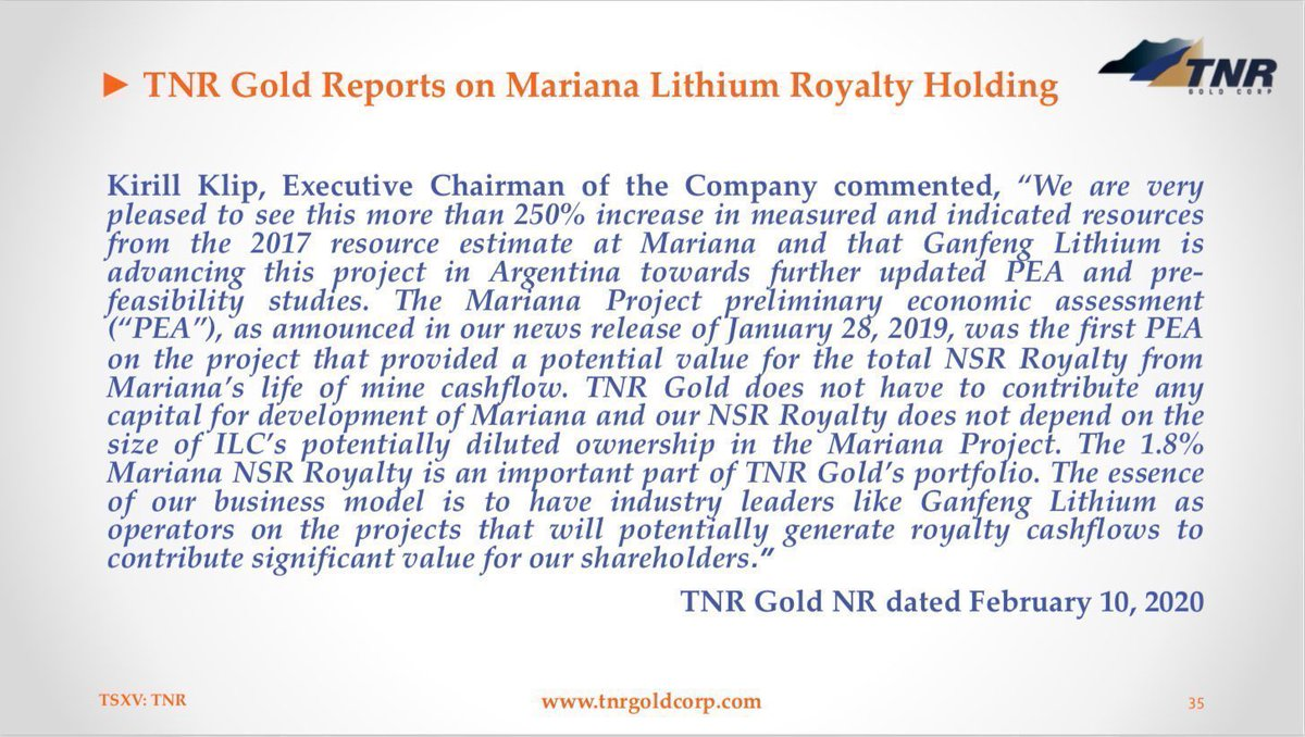 """.@kirillklip: """"TNR Gold does not have to contribute any capital for development ... 1"""