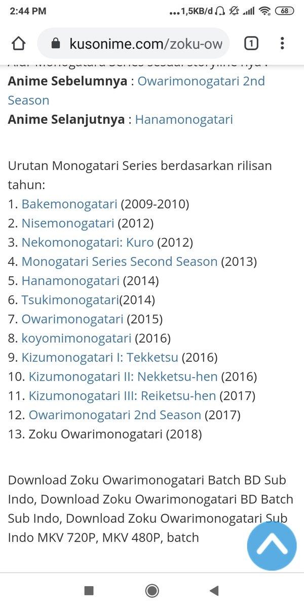 Zoku Owarimonogatari Sub Indo : owarimonogatari, Condet, Twitter:,