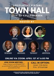 William K Boddie Jr on Twitter: Today at 6:00pm! Please join the City of City of College Park Legislative Delegation today at 6:00pm for a Legislative Virtual Town Hall Meeting where there