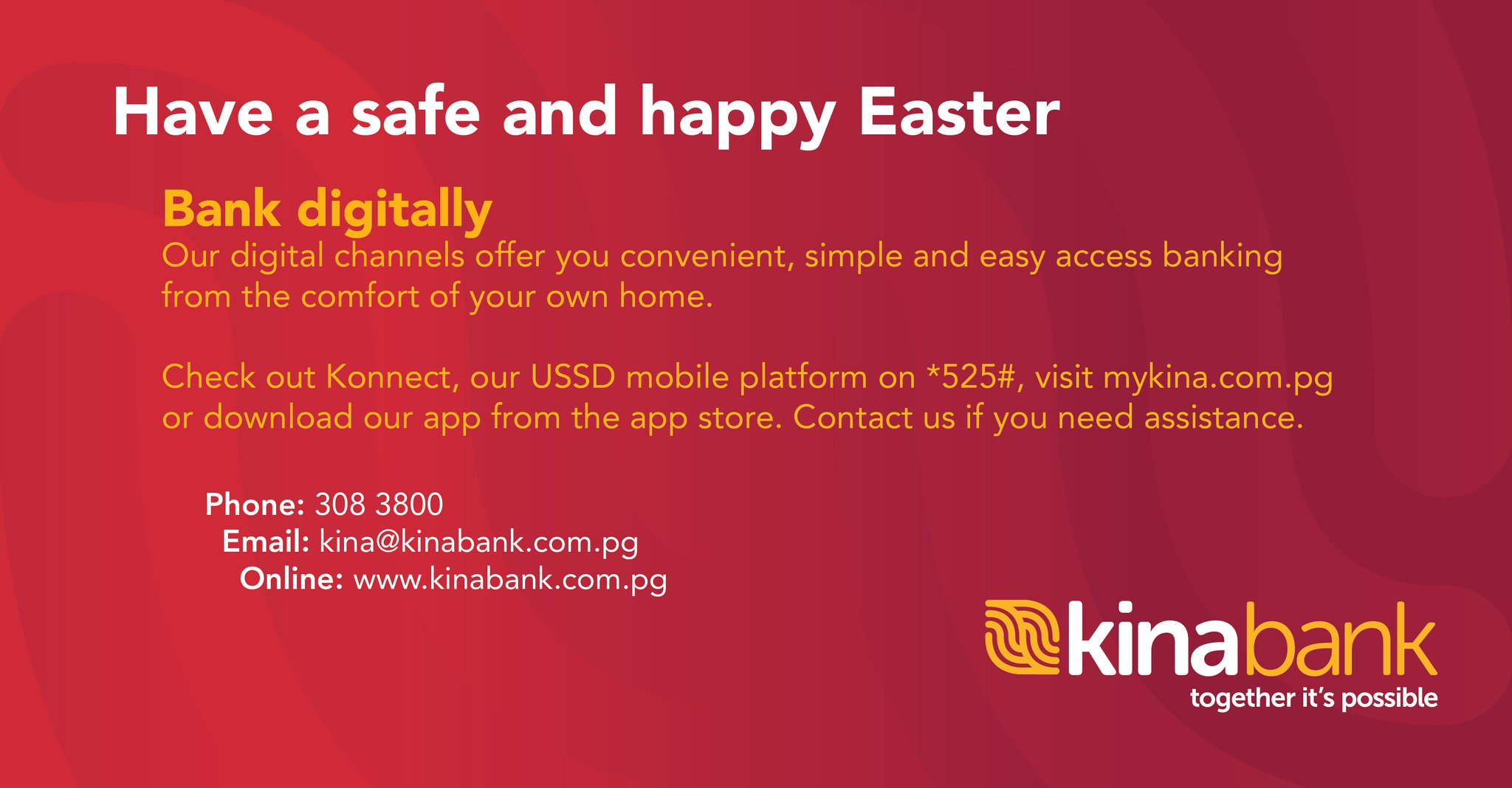 Kina Bank On Twitter Easter Weekend Closure Announcement Our Branches Will Be Closed On Friday 10 April To Monday 13 April For The Easter Public Holiday We Will Resume Our Normal Trading