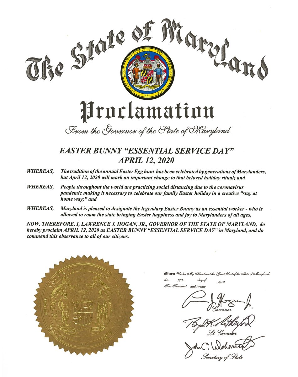 Proceed Governor : proceed, governor, Governor, Larry, Hogan, Twitter:, There, Concerned,, Reassuring, News:, Today, Officially, Proclaimed, Easter, Bunny, Essential, Worker, Maryland.