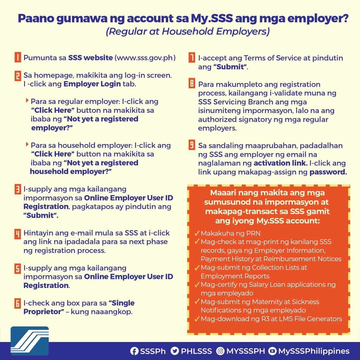 Social Security System On Twitter Mga Sss Employers Mag Register Na Sa My Sss Pwede Na Rin Ang Bank Enrollment Para Mas Madali Nang Matanggap Ang Mga Benepisyo At Loans Https T Co Gruwbga80p
