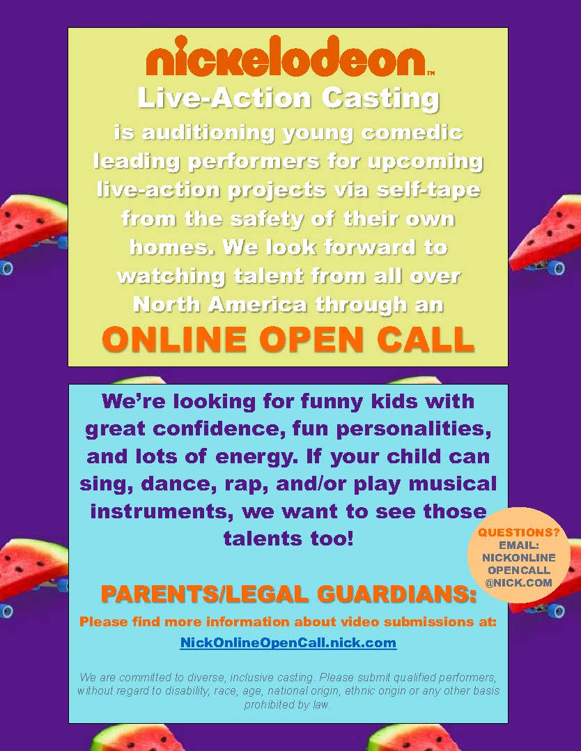 Nickelodeon Open Casting Calls 2020 : nickelodeon, casting, calls, Nickelodeon, Casting, Twitter:,