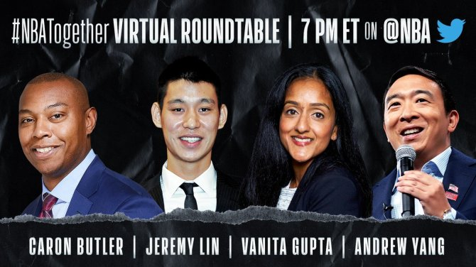 Tune in to tonight's #NBATogether Virtual Roundtable at 7 PM ET on @NBA as Caron Butler (@realtuffjuice) discusses countering anti-Asian discrimination and violence with Jeremy Lin (@JLin7), @civilrightsorg's @vanitaguptaCR, and @HumanityForward's @AndrewYang. #NBAVoices