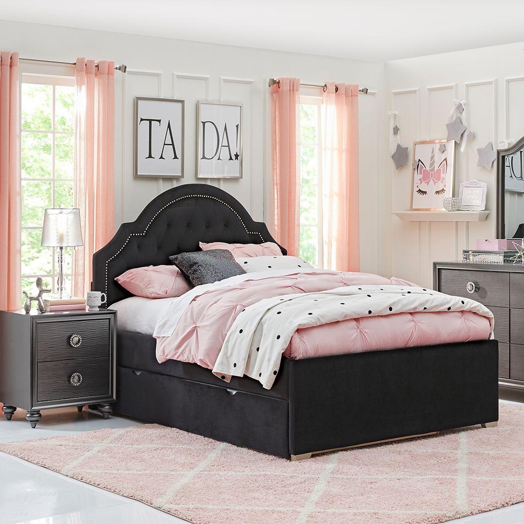 braelynn black full upholstered bed