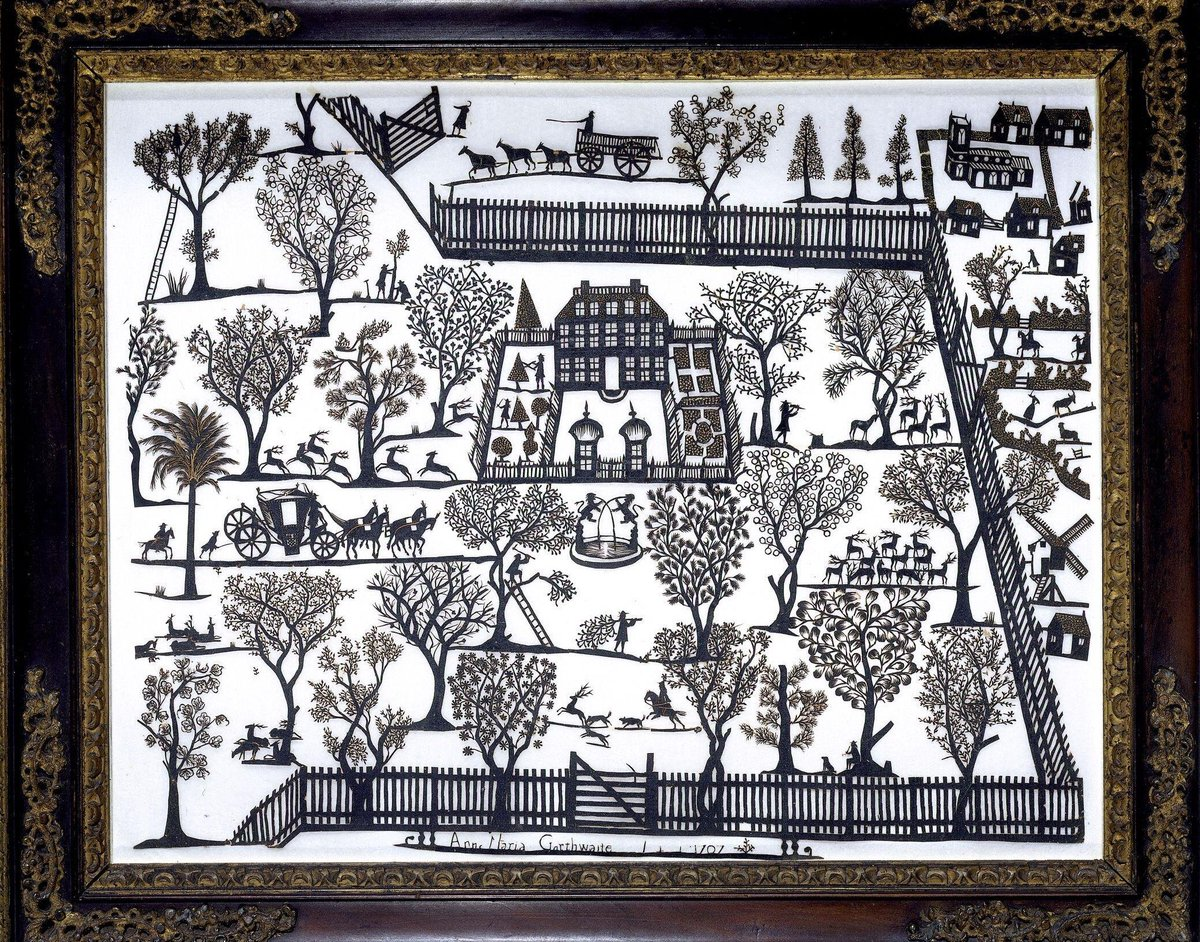 This cut-paper work picture shows a country house of around 1700 surrounded by gardens, with gardeners clipping trees. Huntsmen are shown chasing deer in a wooded park and in the upper right corner is a village with houses clustered around a parish church.