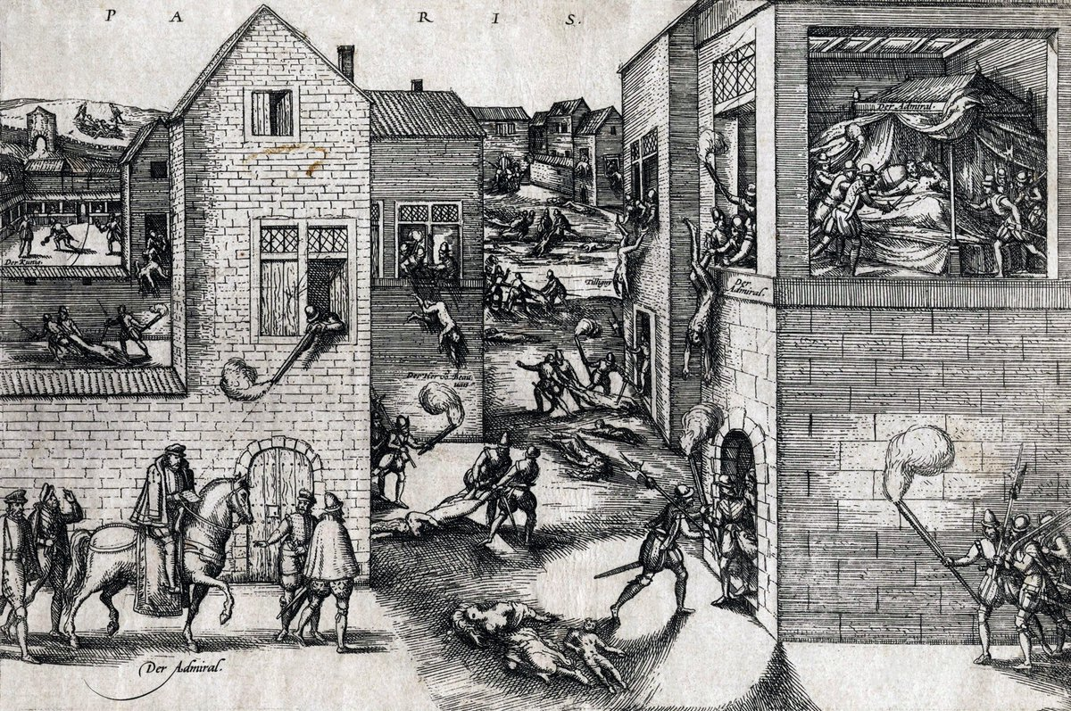The St. Bartholomew's Day massacre [Hogenberg, Franz; artist.] An early image of the St. Bartholomew's Day Massacre. Engraving, 10 3/4 x 14 inches; disbound, minor edge wear; contemporary printed caption mounted above image. Np, circa 1572 - public domain