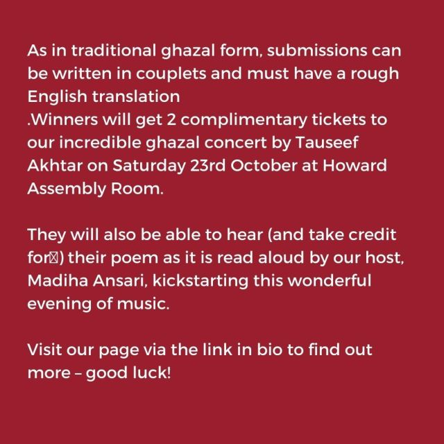 "South Asian Arts-uks tweet - ""Can YOU write a ghazal? Whether you"