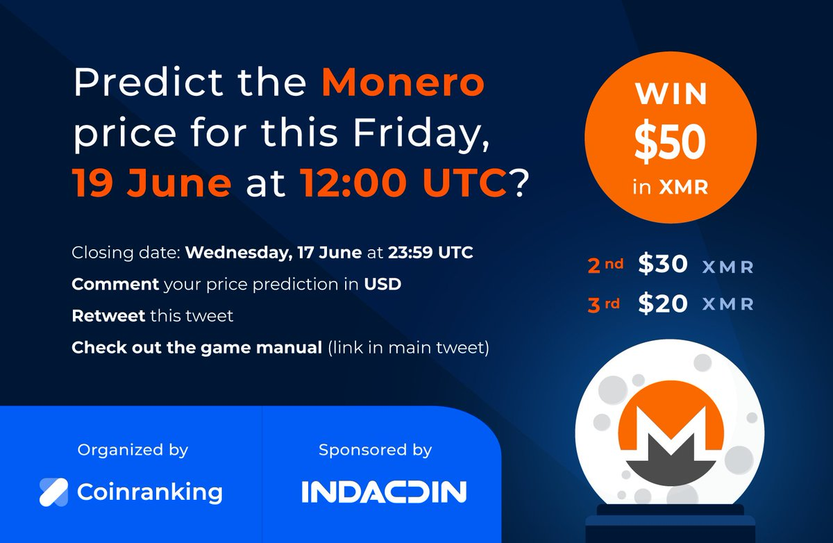 Predict and win $50 (1st prize) $30 (2nd) or $20 (3rd) in $XMR  Check out our #g... 1