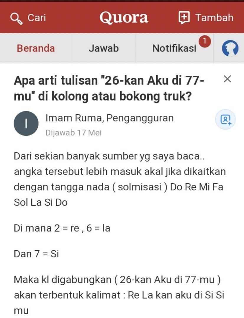 Arti Dari 26 Kan Aku Di 77 Mu : Thread, @panjidorky13,, Kumpulan, Jokes, Bapak, Sering, Klean, [...]