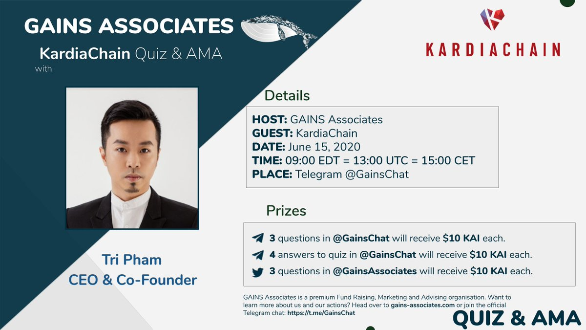 Welcoming Tri Pham from @KardiaChain— QUIZ & AMA Ask questions below now and on ... 2