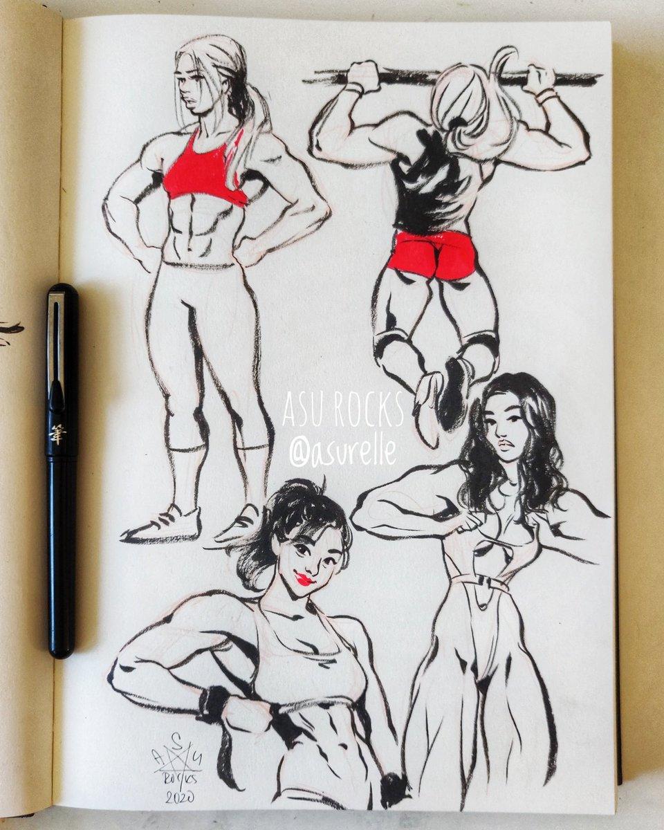 Muscular Woman Drawing : muscular, woman, drawing, ROCKS, Andriyenko, Twitter:,