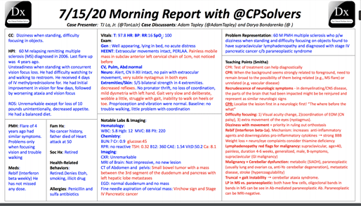MedTweetorial: #Tweetorial Author: @RosenelliEM  Type: #Podcast #MedEd Specialty: #IM #InternalMedicine #Neurology #Oncology Topics: #VirtualMorningReport #VirchowsNode #CPSolvers @CPSolvers #ParaneoplasticNeurologicalSyndromes #PNS #PancreatitcCancer #MS #MultipleSclerosis