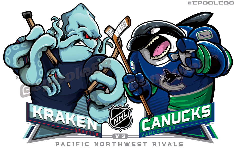 FINALLY!...Some @NHLSeattle_ artwork. One featuring the Kraken by his lonesome, ... 3