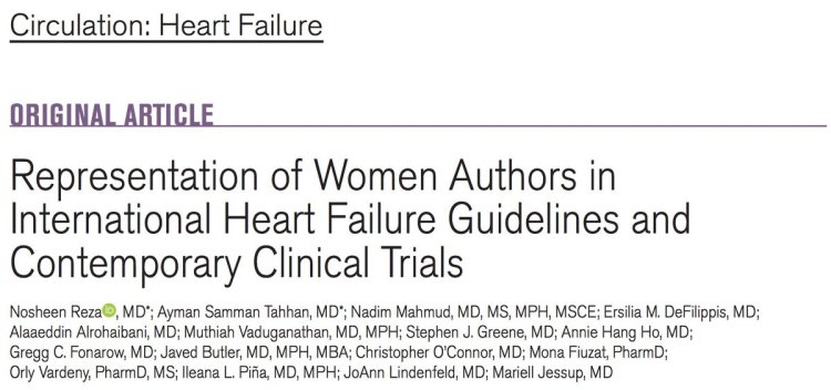 MedTweetorial: #Tweetorial Author: @noshreza  Type: #Publication #Advocacy Specialty: #Cardiology #Cardiotwitter  Topics: #WomenInMedicine #HeartFailure #CHF #WomenInfluencesInHeartFailurePractices #WomenAuthors