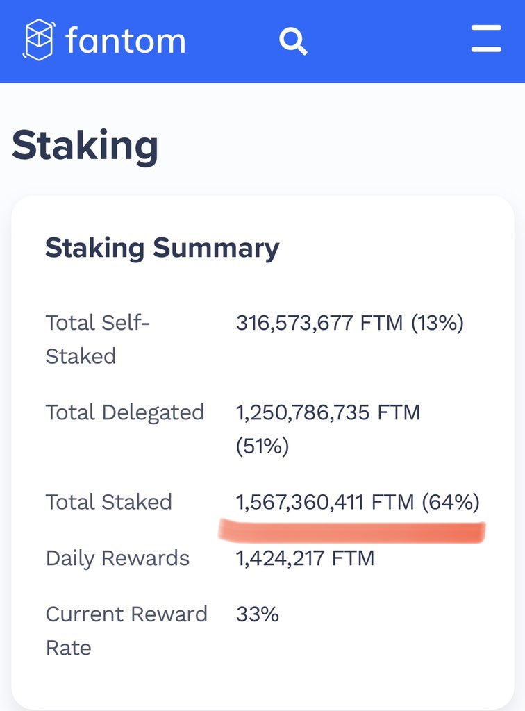 Total Staked : 1.567.360.411 FTM  64% go to 70% #. $fantom $ftm #DeFi    #moon ... 2