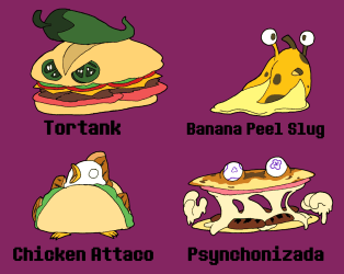 BroDumpster on Twitter: The penultimate Food Monsters pic a few silly ideas thrown in for fun Another Attaco and my fave being Psynchronizada #myart #myartwork #oc #originalcharacter #characterdesign #enemy #food # monster #foodmosnter #