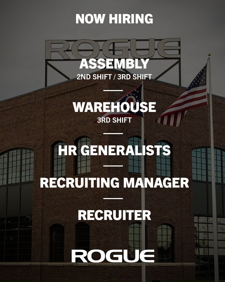 Rogue Fitness Jobs Columbus Ohio : rogue, fitness, columbus, Rogue, Fitness, Twitter:, Hiring!, Manufacturing, Warehouse, Hourly, Jobs:, Minimum, Starting, /Hour, Peak*, /Hour, Overtime, /hr