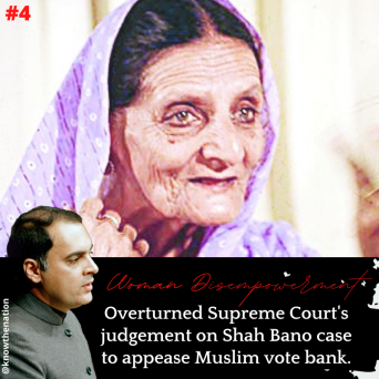 """Know The Nation on Twitter: """"4. Rajiv Gandhi, overturned Supreme Court's  landmark judgment in Shah Bano's case in 1986 by passing the Muslim Women  (Protection on Divorce Act) to appease Muslim vote"""