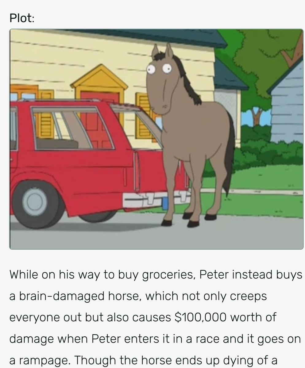 Family Guy Horse : family, horse, 𝕃𝕊𝔻, Twitter:, There, Family, Episode, Where, Stupid, Horse, Peter's, Porsche,, Causing, Money