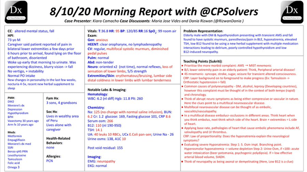 MedTweetorial: #Tweetorial Author: @RosenelliEM      Type: #ClinicalReasoning #Podcast Specialty: #IM #InternalMedicine Topics: #Syncope #Hyponatremia #B12Deficiency #Neuropathy #VMR #VirtualMorningReport #CPSolvers