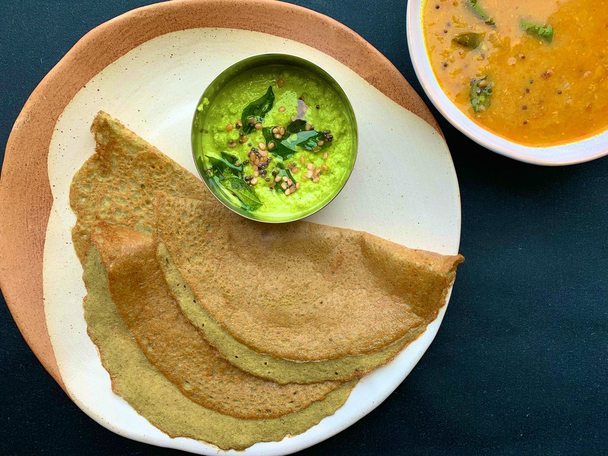 """Maunika Gowardhan on Twitter: """"Andhra style Pesarattu- Moong dal dosa with  ginger, chilli & coriander. Served with coconut chutney & sambar. Recipe on  Maunika's Indian Recipes App on ITunes https://t.co/ulGs29qPHV #breakfast # dosa #"""