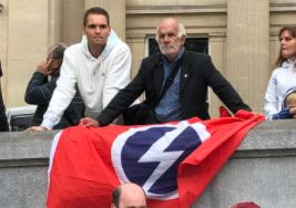 Perhaps it says more about the state of my mind than it does about the state of the country, but watching the #ENGSCO game in the pub, I thought I saw a British Union of Fascists flag  They were at the anti-lockdown demo last year  Look out for them at the 'Freedom March' today. https://t.co/YTrfBuvHh8