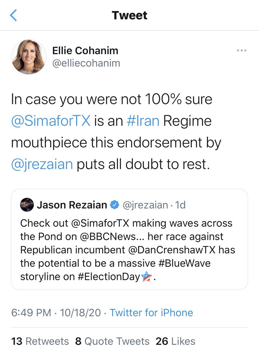 Hi @elliecohanim  Please explain why you accused two Iranian-Americans @SimaforTX and @jrezaian here on twitter then suddenly deleted your tweet with no explanation. CC @StateDept https://t.co/GznCr5kJ3y