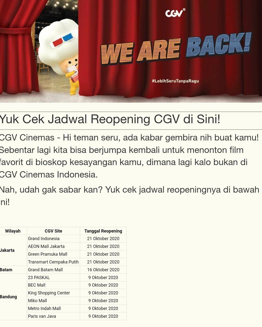 Cgv Pvj Jadwal : jadwal, Moviegoers, Indonesia, Twitter:,