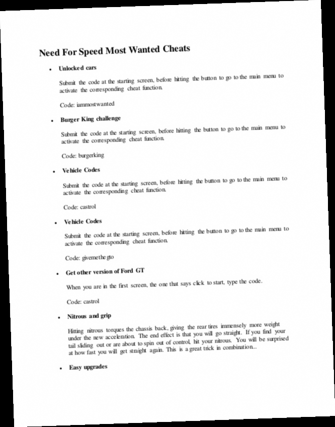 Cheat Nfs Most Wanted Pc : cheat, wanted, Speed, Wanted, Cheat, Codes