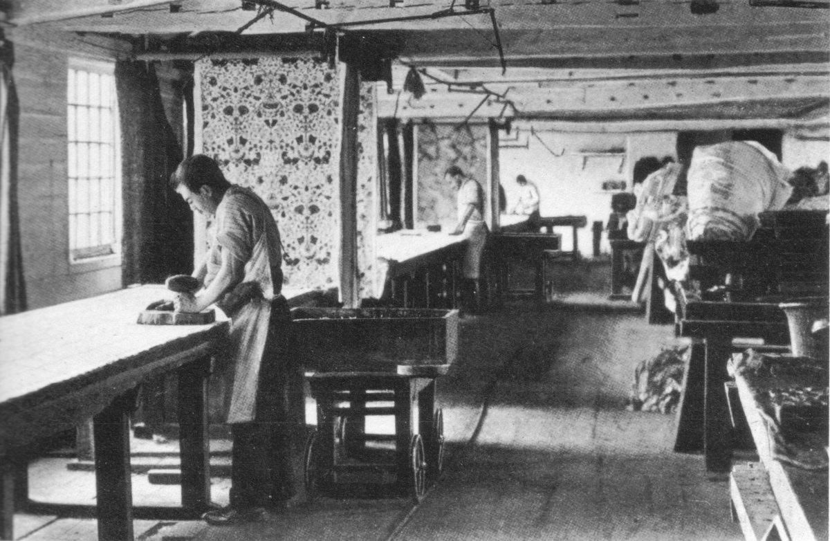 Printing chintzes at Merton Abbey c. 1890, first published in Morris & Company