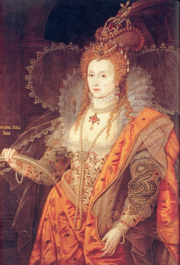 The Rainbow Portrait of Queen Elizabeth I (Unknown artist, c. 1600–1602; oil on canvas, 127x99.1 cm; in the collection of the Marquess of Salisbury, Hatfield House, Hatfield, Hertfordshire) - Public Domain