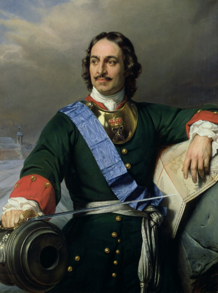 Peter the Great wearing the insignia of the Order of St. Andrew and a moire ribbon sash - Public Domain