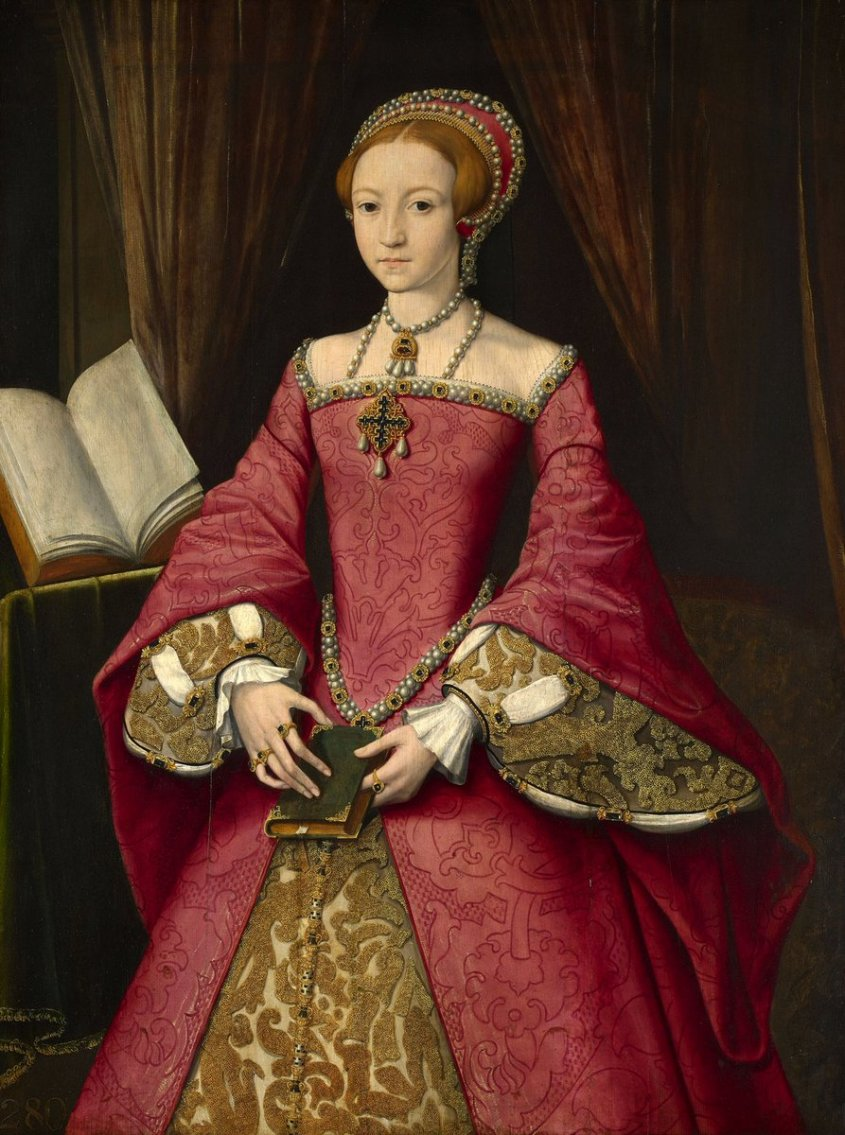 Attributed to William Scrots (active 1537-53) - Elizabeth I when a Princess - RCIN 404444 - Royal Collection