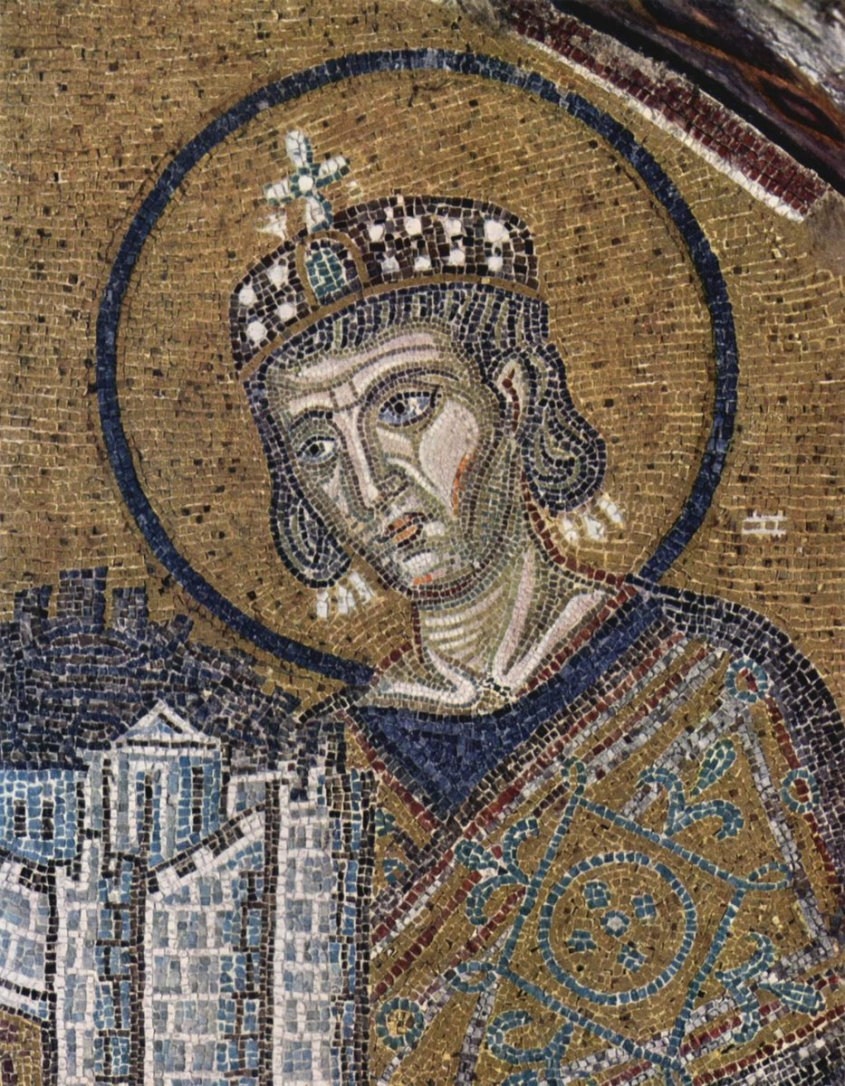 Byzantine Emperor Constantine I — wearing some mosaic brocade and holding a whole big city in his hands because he was that full of himself. Public Domain
