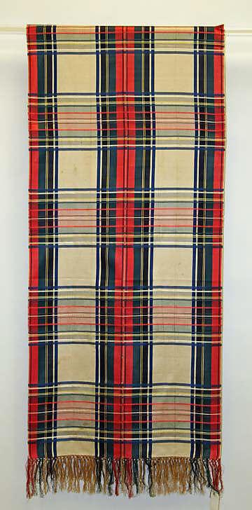 Silk shawl in red, white, and green tartan -- 1822, England; Met Musuem
