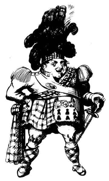 Contemporary cartoon of George IV in his kilt.
