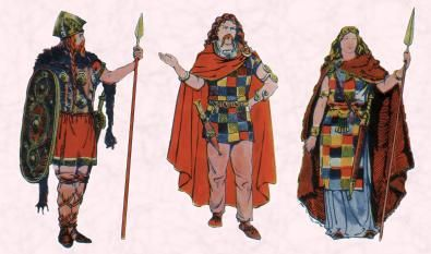 Depiction of ancient Celts in tartan/plaid, tunics, with spears.