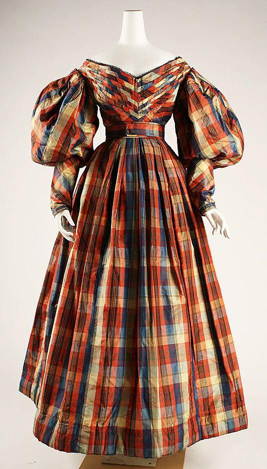 Plaid silk dress, British, ca. 1830. - Met Museum