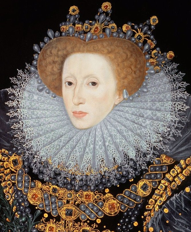 "English opulence, Italian reticella lace ruff, (possibly) Polish ornamentation, a French farthingale, and Spanish severity: The ""Ermine Portrait"" of Elizabeth I - public domain; Elizabeth I with lace immense ruff."