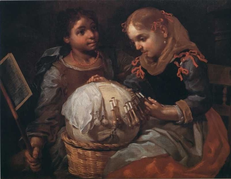 Two young girls working bobbin lace. Public domain.