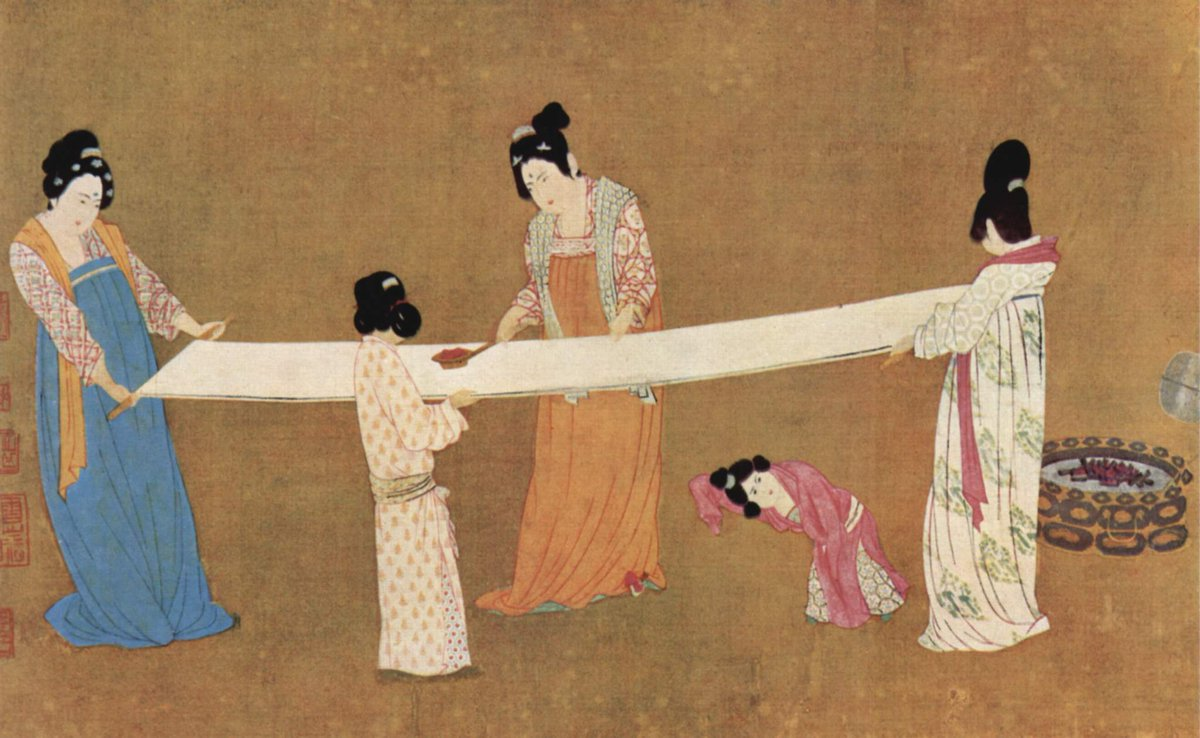 Silk-makers from the Tang Dynasty preparing silk fabric, with children helping along. Public domain.