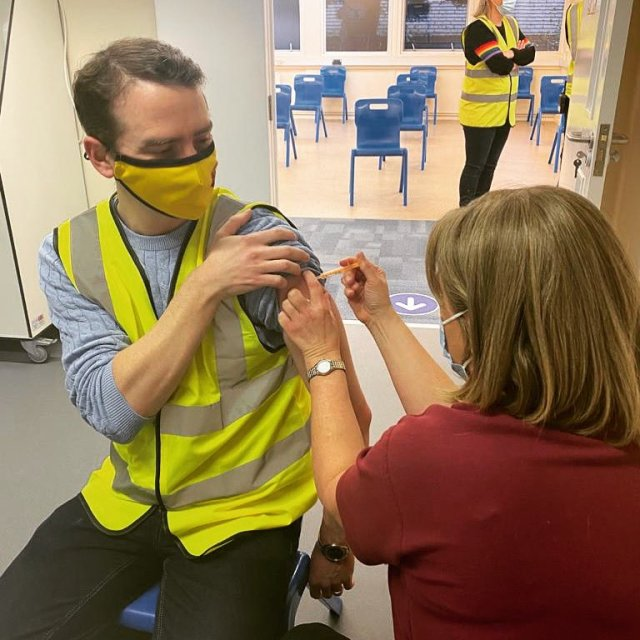 Peter Taylor The Mayor of Watford was among the people to receive a Covid-19 vaccination jab at the centre on February 16.
