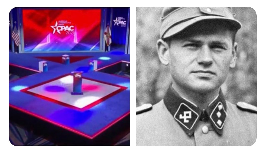 "John Moffitt 🌊🌊🧢🧢 on Twitter: ""The CPAC stage design was NOT an  accident! The American Nazi Party is moving to this symbol.…  https://t.co/YZ7oLNBUaf"""