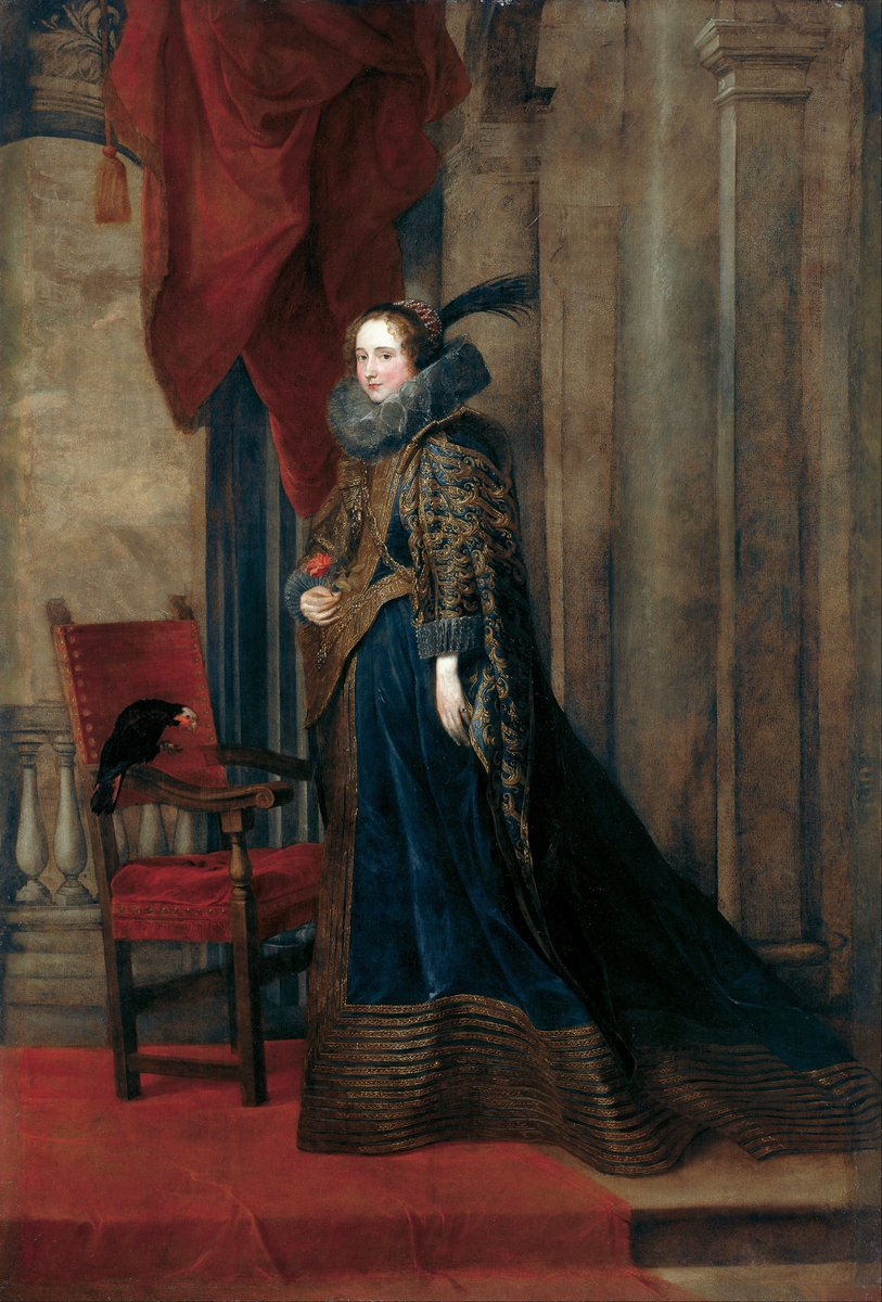 Paolina Adorno Brignole-Sale - Google Art Project - Genovese noble woman draped in deep blue embroidered dress of velvet with a ruff; chair with velvet, and velvet hangings all around her.