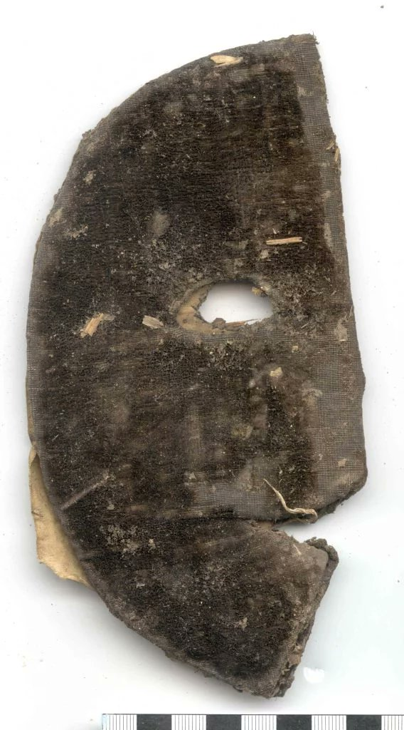 This is a visard mask made of nightmares. Visard made of velvet and silk over pressed paper lining with a black glass bead found in the wall of a 16thC building in Northamptonshire England, Portable Antiquities Scheme, NARC-151A67.[7]