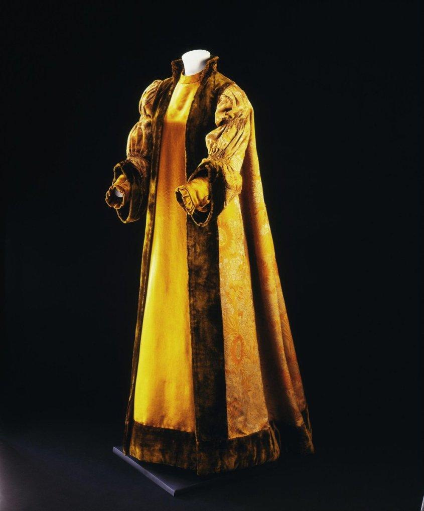 Robe ca. 1897 (made) Yellow - Liberty of London, saffron gold robe